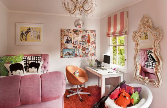 girls room | stripes and chandelier