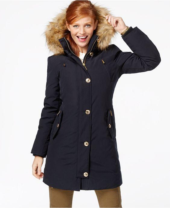 MICHAEL Michael Kors Faux-Fur-Hood Down Parka - Coats - Women