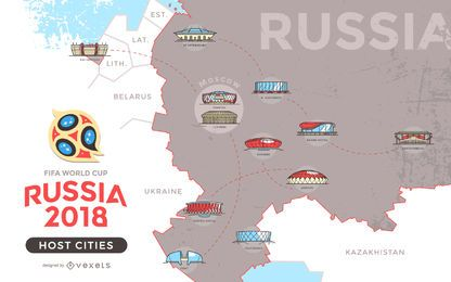Russia 2018 host cities map | wc 2018 | Russia, World cup ...