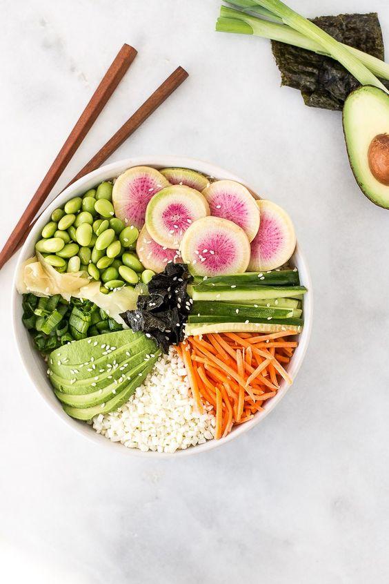 Deconstructed Sushi Bowl with Cauliflower Rice (Paleo, GF, Vegan)