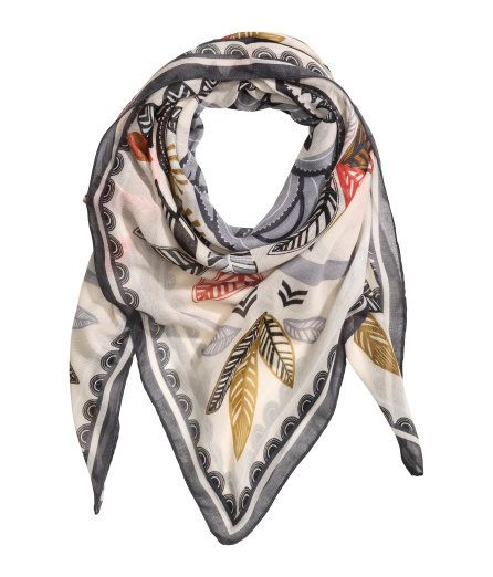 Check this out! Scarf in airy woven fabric with a printed pattern. Size 51 1/4 x 51 1/4 in. - Visit hm.com to see more.: