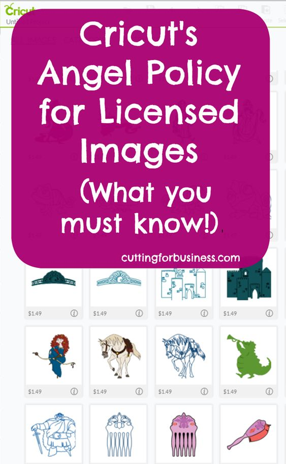 Cricut's Angel Policy for Licensed Images in Design Space by cuttingforbusiness.com