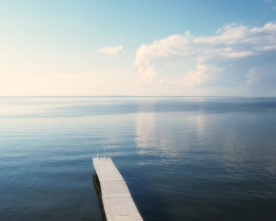 Blue Lake Photograph White Clouds and Dock by PureNaturePhotos, $30.00