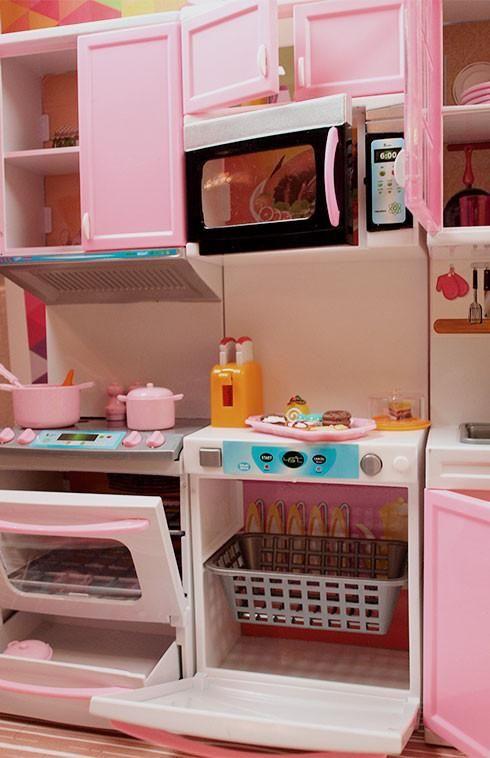 Barbie 4 Piece Vogue Modern Kitchen Set Lower Price Kids Play Kitchen Kitchen Sets For Kids Girl Bedroom Decor