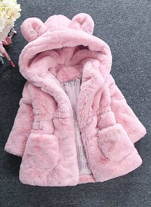 FEITONG Baby Girls Coat Fur Winter Warm Hooded Coat Cloak Jacket Thick Warm Clothes