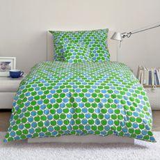 Apfel Bettwäsche Blau - Original Designs von Graziela Preiser auf Bettwäsche, Geschirr, Stoffe, Kinderschlafanzüge und vielem mehr
