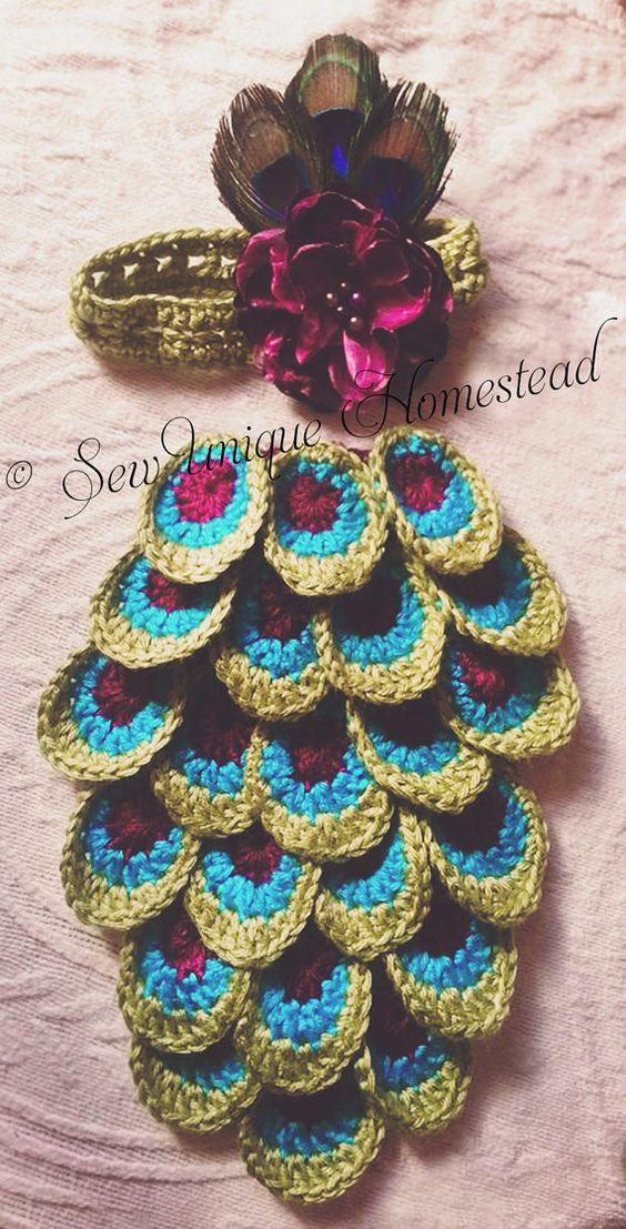 Custom Crochet Peacock Photography Prop Set by SewUniqueHomestead Crochet - Handmade - Newborn - Photography Prop - Animals - Floral - Headband - Feathers - Colorful - Custom - Flower - Green - Purple - Peacock