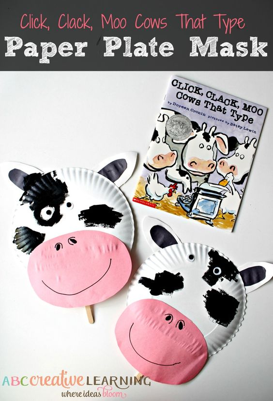 Click, Clack, Moo Cows That Type Cow Paper Plate Mask. A perfect craft for your child's book club activity this summer! -abccreativelearning.com