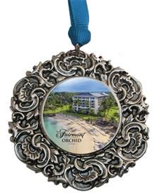 Custom Christmas Ornament with the Fairmont Orchid Great Hotel gift designed by Classic Legacy.