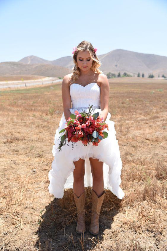 High Low Wedding Dress Designed By Cherielizabeth With Cowboy Boots Wedding Dresses High Low Dresses With Cowboy Boots Cowboy Wedding