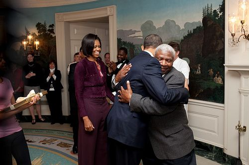 I saw this on Jack & Jill Politics. It shows President Obama hugging retiring White House butler James Ramsey on January 25th 2010.