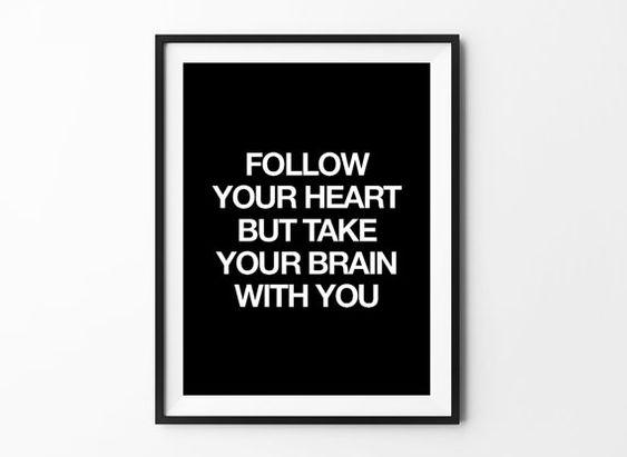 Folgen Sie Ihrem Herzen Plakatkunst, Druck, Kunst Typografie Poster, Wand Dekor, Mottos, minimal, inspirierend, Liebe Zitat, Motivationsprogramme, Geschenkidee