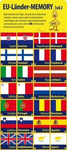 Spiel Basteln Europa Memory Zum Download Europa Schule Europa