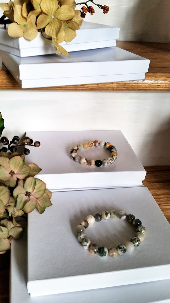Bedazzling Gemstone Bracelets - Stones Mixed with Shades of greys, browns, whites, & greens...- SKU# VP-22
