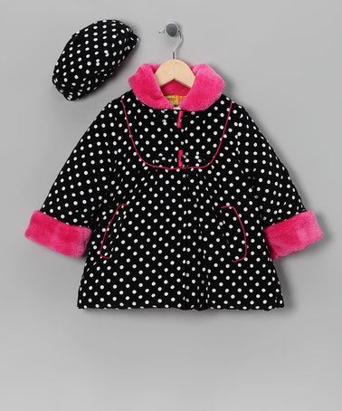 Take a look at this Pink Polka Dot Faux Fur Coat & Hat - Infant, Toddler & Girls by Penelope Mack on #zulily today!