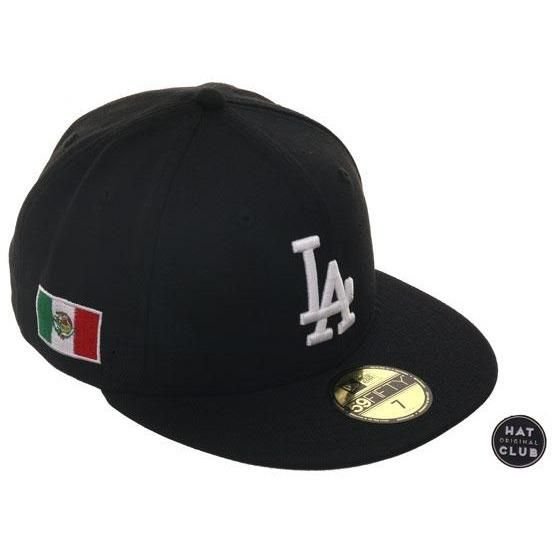 Exclusive New Era 59fifty Los Angeles Dodgers Mexico Flag Patch Hat Black White New Era 59fifty Flag Patches New Era