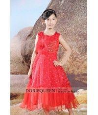 Pleated Bead Inflorescence flower girl dress H006