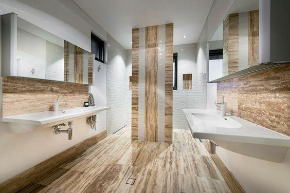 carrelage sol beige, carrelage mural assorti, lavabo design et faux plafond moderne