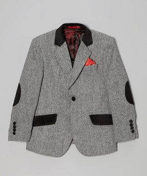 Look at this #zulilyfind! Light Gray Wool-Blend Blazer & Red Pocket Square - Boys & Men by Elie Balleh #zulilyfinds