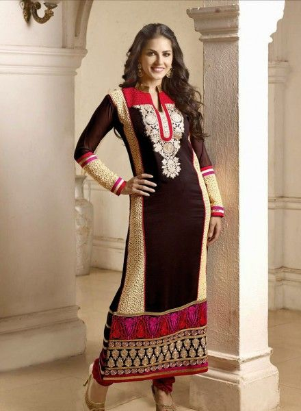 Buy Bollywood Designer Sunny Leone Anarkali Dress In Brown $72.59 Shop at - bollywood-ankle-length-anarkali.blogspot.co.uk/2014/06/buy-bollywood-designer-sunny-leone_18.html