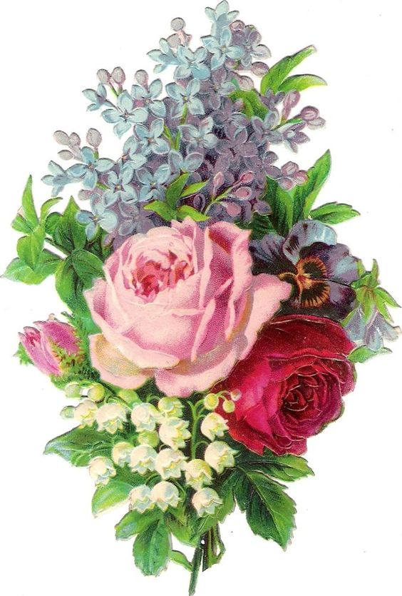 Oblaten Glanzbild scrap die cut chromo Flieder 14cm  lilac lily of valley rose: