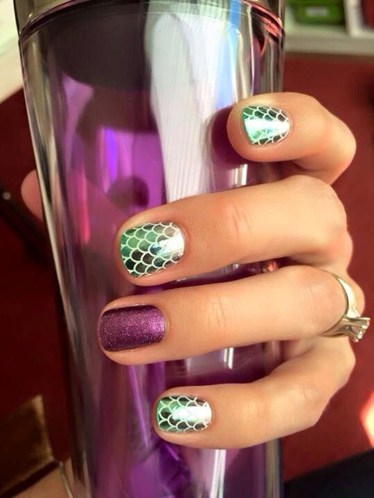 I love this new 'Mermaid Tale' wrap paired with Fizzy Grape!! Jamberry nail wraps