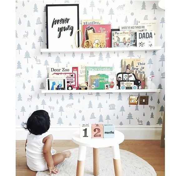 We are loving little Saud's reading corner with a backdrop of our Into the Wild wallpaper 💙🌲📷 by @aisha_s #hibouhome #wallpaper #intothewild #instadecor #interiors #interiorstyling #kids #kidsroom #kidsbedroom #nurserydecor #barnuminspo: