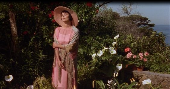 Enchanted April Lady Caroline Dester (Polly Walker ) in 20's dress and hat: