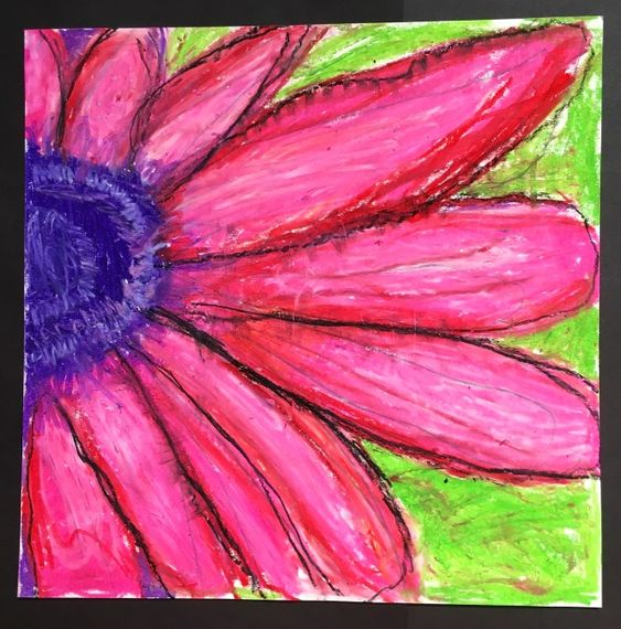 4th Grade Enlarged Flowers and 5th Grade Falling For Foreshortening – Art with Mrs Filmore