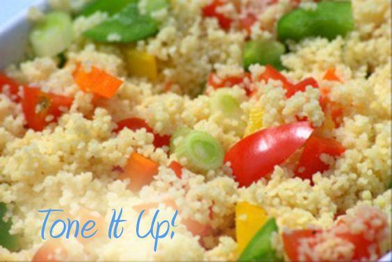 Tone It Up Couscous Salad    Recipe here- http://toneitup.com/blog.php?Simple-Couscous-Salad-Perfect-for-Meal-3-5262    Couscous Salad    Ingredients    1/4 cup whole wheat couscous  1 tbs olive oil  1/2 tsp sea salt  1/4 cup carrot, sliced  1/4 cucumber, sliced  1/4 cherry tomatoes, halved