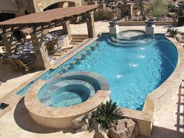Pool swim up bar design ideas pictures remodel and decor for Pool design with swim up bar