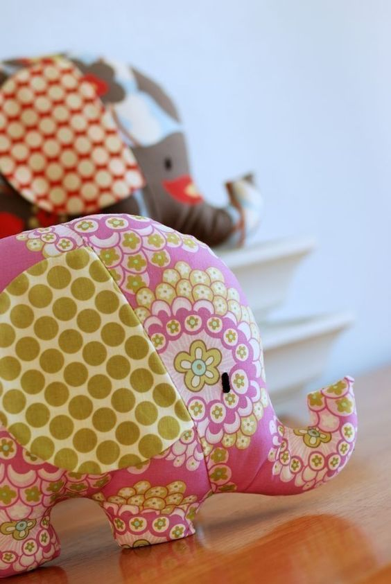 Baby Toy Tutorial Elephant Sewing Pattern Soft Toy by retromama
