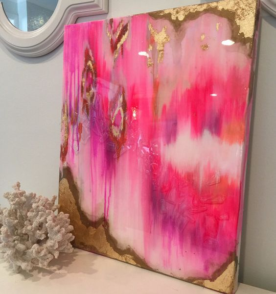 """SOLD! Original Acrylic Abstract Art Painting Ikat Canvas Pink, Gold, Pastel, Ombre Glitter 20"""" x 24"""" Gold Leaf Resin Coat"""