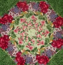 "GRANNY'S ROSE GARDEN Fabric KALEIDOSCOPE QUILT KIT - 9 8""  Squares Quilting Free Shipping 3 Free Pa"