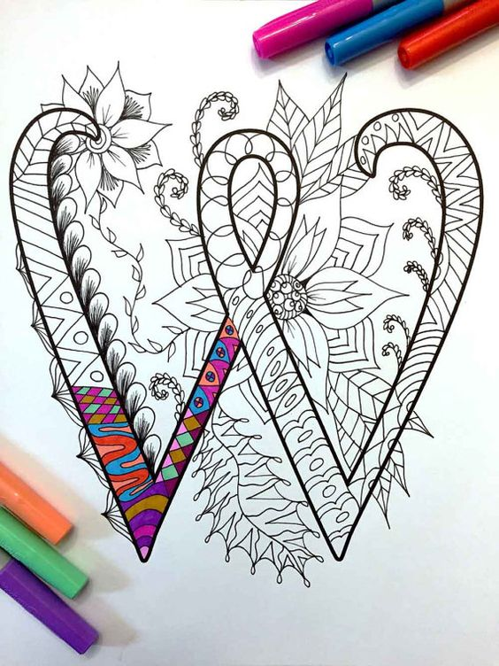 Letter W Zentangle Inspired by the font Harrington por DJPenscript