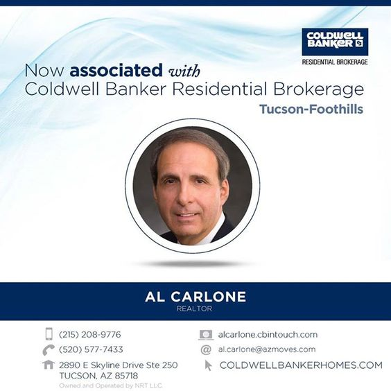 Welcome Al Carlone to Coldwell Banker Residential Brokerage! You can reach Al at (215) 208-9776 or by stopping by the Tucson-Foothills office. #ColdwellBankerArizona