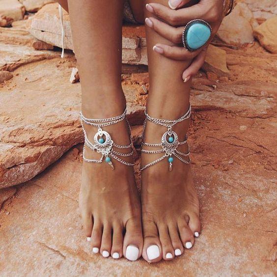 Boho Ethnic Beads Barefoot Sandal Anklet #anklet