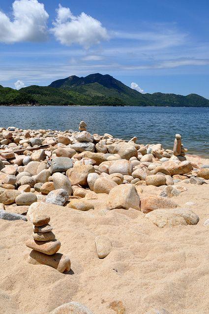 Stone Balancing on Hung Shing Ye Beach - Hong Kong