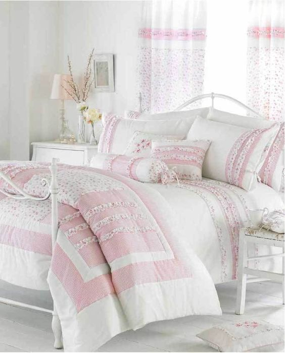Curtains Ideas cream bedding and curtains : Details about White Cream & Pink Ruffle Bedding Duvet Cover or ...