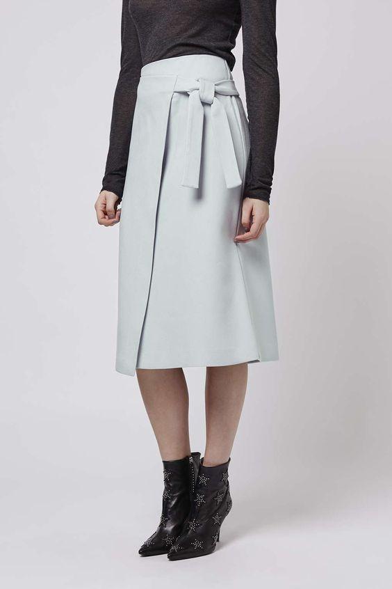 Wrap-Tie Midi Skirt - Topshop