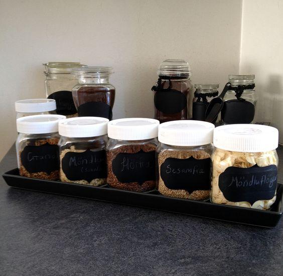 Kitchen jars - decorated  Nutella jars, kitchen, Jar organizer - Chalkboard Label :):