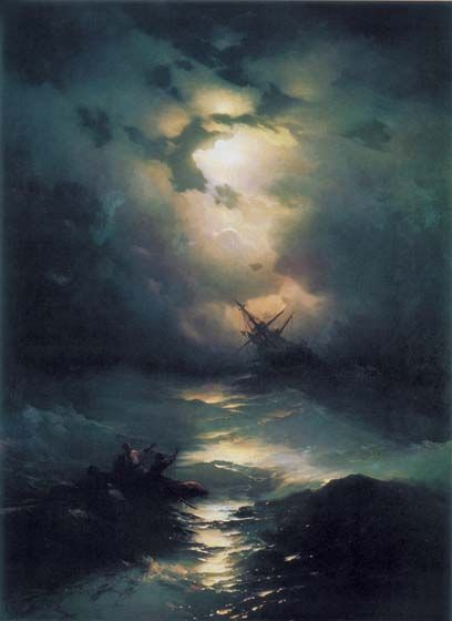 ivan aivazovsky - absolutely amazing 艾瓦佐夫斯基,亞美尼亞人(Armeniian-Russian)「船難月景」。