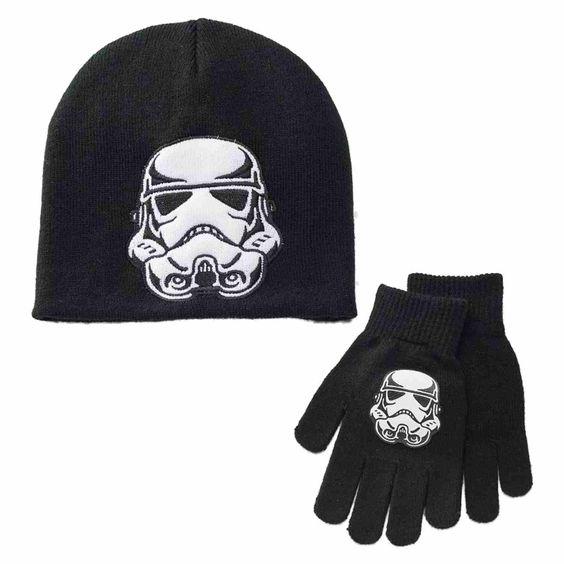 Star Wars Boys 2-Piece Black Knit Stormtrooper Beanie