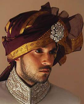 Dark scarlet Jamawar turban with silver broach ornament
