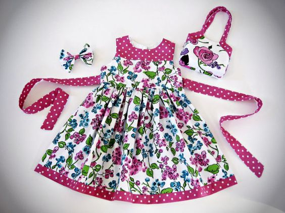 Toddler / Girls Floral Cotton Party Dress with matching Hair Bow and the Perfect Purse!  Size 3-4  One of a Kind