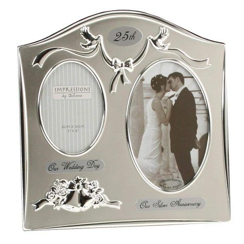 Two Tone Silver Plated Wedding Anniversary Gift Photo Frame Silver Wedding Anniversary Anniversary Gifts For Parents Silver Anniversary Gifts