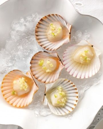Bay scallops with a splash of green-apple mignonette are a delicious alternative to oysters