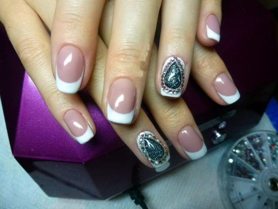 Acrylic nail designs - 43 Cute Nail Art Designs With Stones For The Perfect Manicure