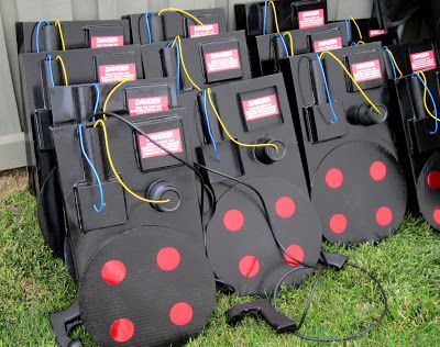 Ghost Busters Proton Pack made from gift boxes and other items