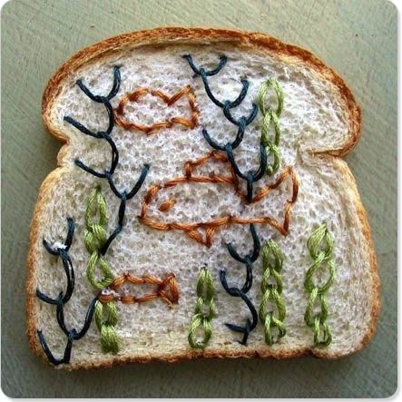 Embroidered Deep Sea bread art by Catherine Mcever